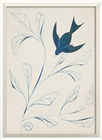 blue bird branch framed wall art
