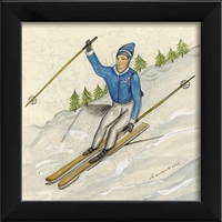 Designer Skier Blue Art Print - USA Made Canvas + Framed Wall Art | BSEID