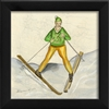 Designer Skier Green Art Print - USA Made Canvas + Framed Wall Art | BSEID