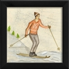 Skier Orange Art Print - Canvas + Framed Wall Art