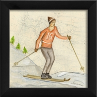Skier Orange Art Print