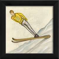 Designer Skier Yellow Art Print - USA Made Canvas + Framed Wall Art | BSEID
