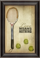 Tennis Love Means Nothing Poster Framed Art