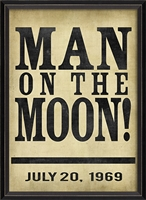 Designer Man On The Moon Art Print - USA Made Canvas + Framed Wall Art | BSEID