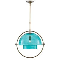 antique brass pendant light aqua glass