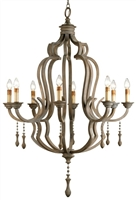 iron wood 8-bulb chandelier hanging charms gray
