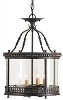 black iron 4-bulb glass ceiling lantern