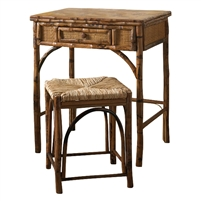 Rattan Small Writing Desk and Stool Set