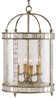 iron glass mirror 4-bulb enclosed ceiling lantern