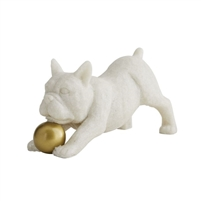french bulldog sculpture white gold ball