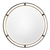 round mirror beveled iron frame rustic bronze antiqued gold