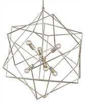silver geometric 6-bulb chandelier contemporary