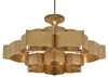 lotus shaped 6-bulb antique gold leaf chandelier