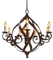 wrought iron round 9 bulb chandelier rust twisted bands