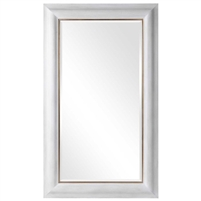 tall wall mirror lightly distressed white wood frame gold border beveled