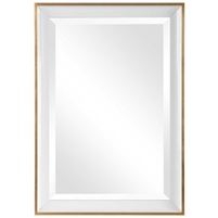 rectangle mirror contemporary white and gold frame