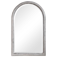 wall mirror arch top textured iron frame aged grey silver