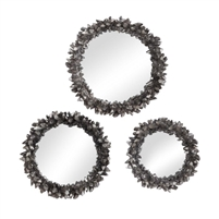 set 3 round mirrors assorted sizes antique silver leaf rock crystal frames