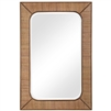 rectangle wall mirror beveled rattan frame fir wood accents