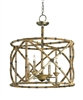 natural wood bronze 4 bulb circular open ceiling lantern
