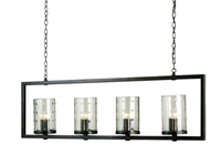wrought iron glass bronze 12-bulb rectangle chandelier