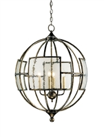 wrought iron seeded glass bronze glass 4 bulb orb chandelier round