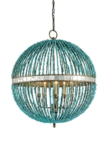 orb chandelier wrought iron turquoise beads mirror squares 5 light