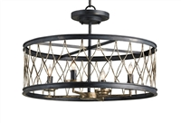 wrought iron black bronze crisscross 4 bulb pendant light