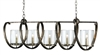 wrought iron glass bronze 5 bulb rectangular chandelier