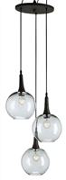 wrought iron glass trio circular bulb pendant