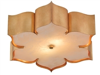 lotus shaped antique gold leaf acrylic diffuser flush mount ceiling light