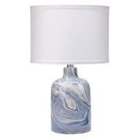 table lamp ceramic white blue swirl white linen drum shade