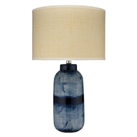 dark blue white batik ceramic table lamp natural raffia shade