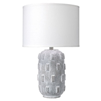 grey concrete-like textured table lamp white linen shade