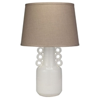 white glazed ceramic table lamp circles natural linen cone shade