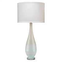 blown glass table lamp light blue white taupe slender tall acrylic base white linen drum shade