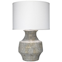 gray table lamp concrete-like texture ceramic white linen drum shade