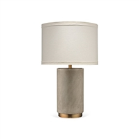 gray table lamp linen shade metal antique brass