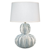 white blue ripples gourd shape table lamp glazed texture white linen shade
