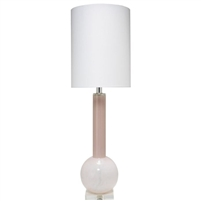 tall light pink glass table lamp contemporary modern white linen thin drum shade