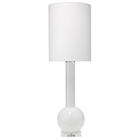 tall white glass table lamp contemporary modern white linen thin drum shade