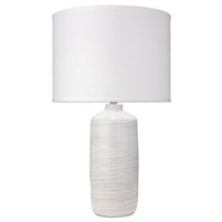 white table lamp ceramic etched white linen drum shade