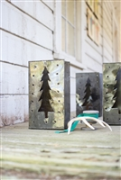 Set of 6 Tin Bag Christmas Tree Luminaries