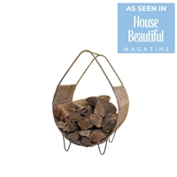 Kalalou Rush Metal Log Holder - Rustic Firewood Sling For Decorative Storage