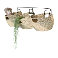 metal wall frame 3 green natural baskets