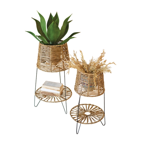 set 2 natural seagrass plant stands shelf iron