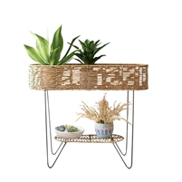 plant stand long oval large seagrass shelf