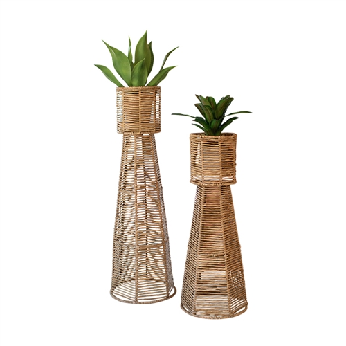 tall seagrass hexagon shaped planter towers