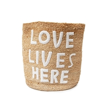 natural jute basket love lives here applique