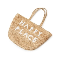 small jute basket white handles happy place